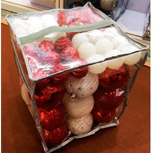 Estuche con 63 esferas rojas y blancas en diferentes tamaños de 4 y 8cm