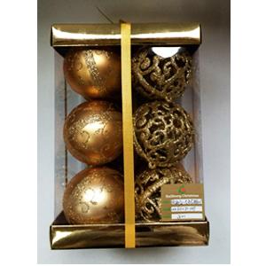 Estuche con 12 esferas con diseño doradas de 8cm
