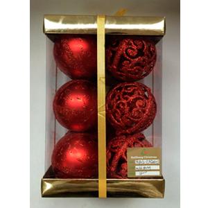 Estuche con 12 esferas con diseño rojas de 8cm