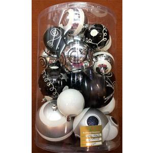 Estuche con 25 esferas en diferentes tamaños en blanco y negro de 10, 8 y 6 cm