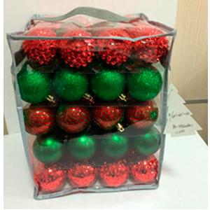 Estuche con 80 esferas rojas y verdes de 6cm