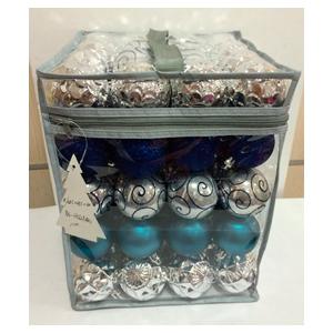 Estuche con 80 esferas azules y plata de 6cm