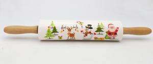 Rodillo de porcelana con estampado de figuras navideñas de 7x7x49cm