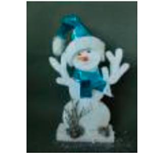Muñeco de nieve con traje azul de 34x5x55cm