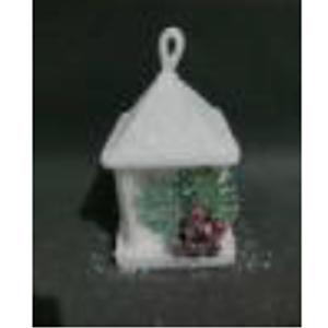 Linterna nevada con Piñas y luz led de 14x22cm