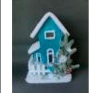 Casa azul nevada con luz led de 42x29cm