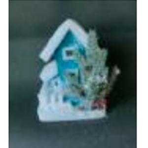 Casa azul nevada con luz led de 23x17cm