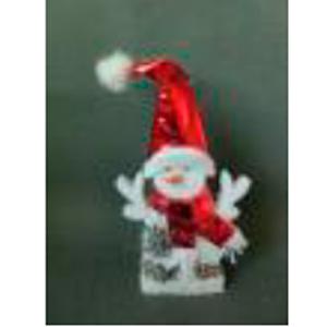 Muñeco de nieve con gorro y bufanda roja de 20x4x35cm
