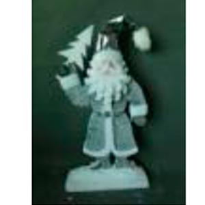 Santa con abrigo gris de 75cm