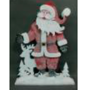 Santa con traje rojo y venado de 71x9x91cm