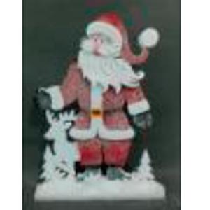 Santa con traje rojo y venado de 56x7x71cm