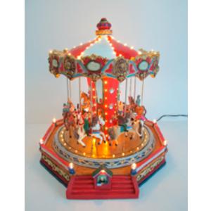 Carrusel con caballos, música y luces de 34x36x35cm
