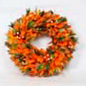 Corona de flores naranjas de 40x40x10.5