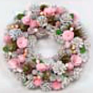 Corona de piñas con flores rosas y blancas de 34x34x8.5cm