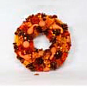 Corona de coniferas y calabazas naranjas de 36x35x8cm
