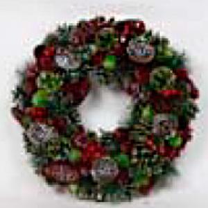 Corona de festón verde con piñas rojas nevadas de 35x35x8cm