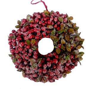 Corona de moras rojas con follaje verde de 30cm