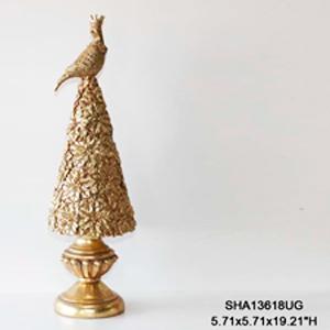 Árbol dorado con ave en la punta de 50x13cm