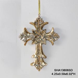 Cruz dorada colgante de 14x10.5cm