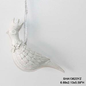 Paloma blanca con corona colgante de 17x9cm