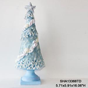 Árbol azul con conchas de 49x15cm