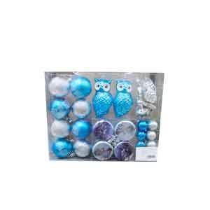 Juego de 41 esferas y punta para árbol en tonos azules,  plata y blanco