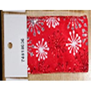 Rollo de liston rojo de 6cm estampado Copos de nieve con 9m