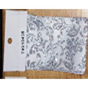 Rollo de liston de 10cm estampado flores plata con 9m