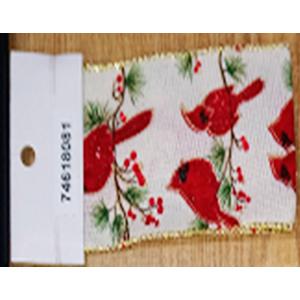 Rollo de liston de 6cm estampado Cardenales rojos con 9m