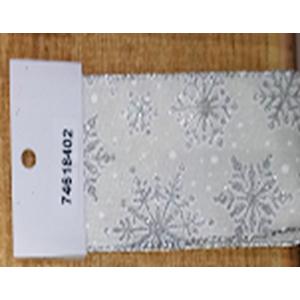 Rollo de liston de 6cm estampado Copos de nieve plata con 9m