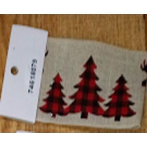 Rollo de liston de 6cm estampado pinos rojos con 9m