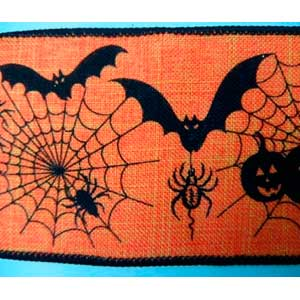 Rollo de liston de 6cm estampado Halloween con 9m