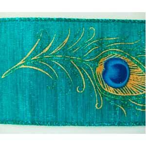 Rollo de liston de 6cm azul con pluma de Pavorreal dorada con 9m