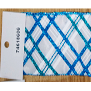 Rollo de liston de 6cm blanco con líneas azules con 9m