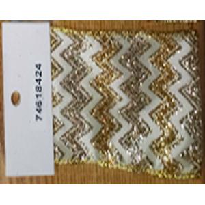 Rollo de liston de 10cm con líneas en zigzag doradas con 9m