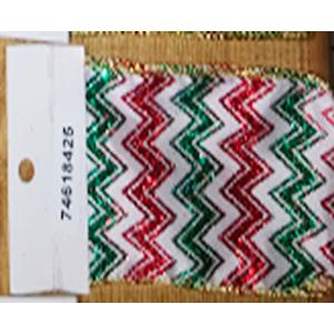 Rollo de liston de 10cm con líneas en zig zag verdes y rojas con 9m