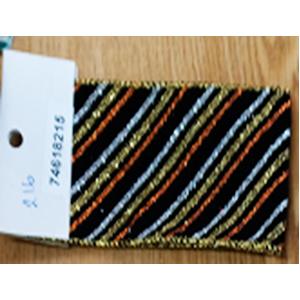 Rollo de liston de 6cm negro con líneas de colores con 9m