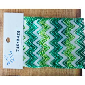 Rollo de liston de 10cm con líneas en zig zag verdes con 9m