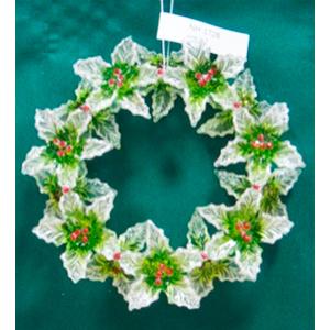 Colgante de corona con nochebuenas transparentes con verde