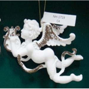 Colgante de angel blanco tocando arpa