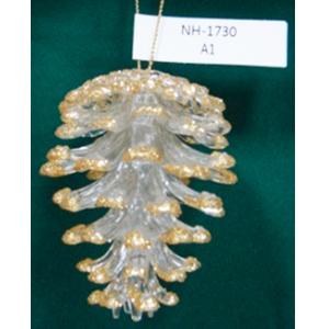 Colgante diseño piña transparente con orilla dorada