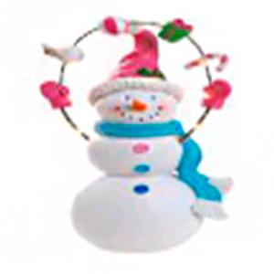 Muñeco de nieve con caramelos y luz led de 25cm usa bateria litium