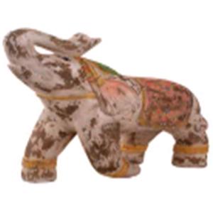 Elefante tipo madera blanco de 49cm