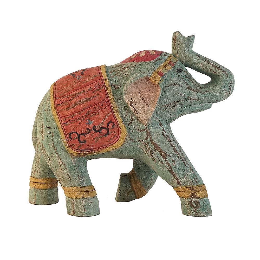 Elefante tipo madera azul de 37cm