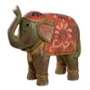 Elefante tipo madera verde de 27cm