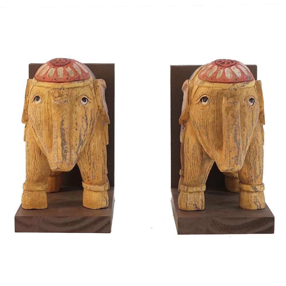 Portalibros diseño Elefantes tipo madera de 18cm