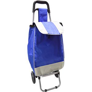 Carro para mandado con bolsa diseño blanco y azul de 35x28x95cm