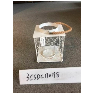 Linterna cuadrada de metal blanca de 15x15x19cm