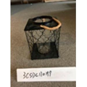 Linterna cuadrada de metal negra de 19x19x25cm