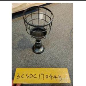 Candelabro de metal con pedestal negro de 14x14x33cm